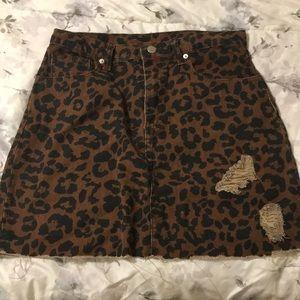 Dresses & Skirts - High rise denim leopard skirt